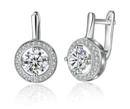 Silver Color Round Shape Full Of Love Dangle Earrings - $14.99