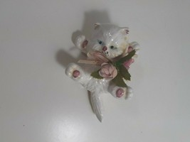 5 x 2 inch white cat on his back made in twain with pink flowers used good - $4.95