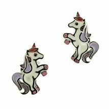 Children's Scottish Sterling Silver Unicorn Stud Earrings with enamel - $24.76
