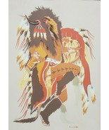 Vintage Native American Woody Crumbo The Buffalo Dance Silk Screen Art P... - $192.85