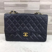 AUTHENTIC CHANEL BLACK QUILTED CAVIAR JUMBO CLASSIC FLAP BAG GOLDTONE HA... - $4,088.00