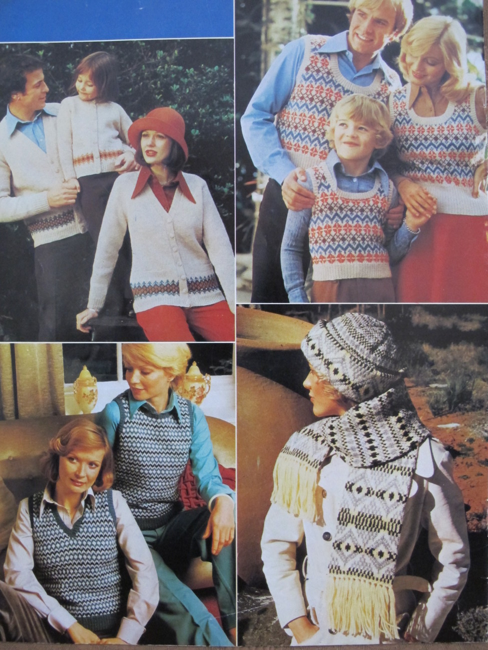 Vintage Patons FAIR ISLE Knitting Patterns FAMILY Sweaters Vests Beret Scarf etc