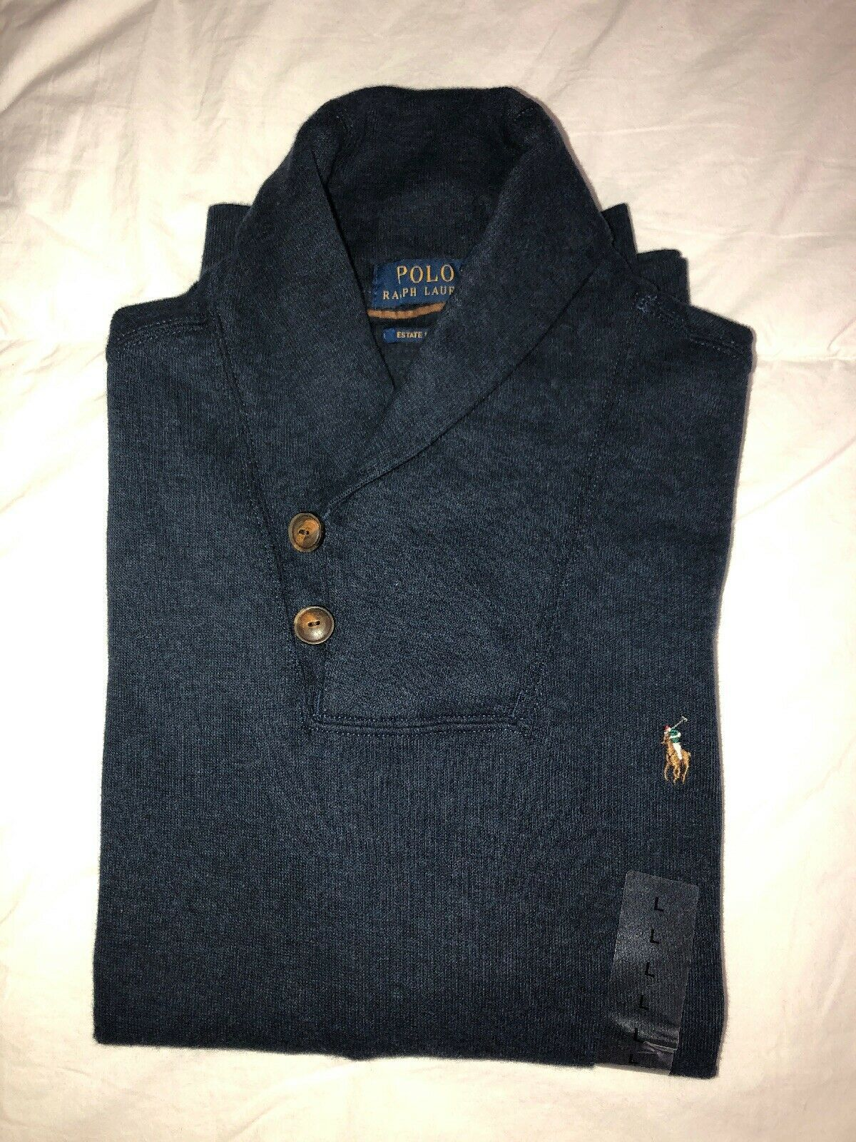 Nwt Polo Ralph Lauren Men's Estate Rib Shawl Neck Sweater Navy Heather L