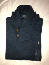 Nwt Polo Ralph Lauren Men's Estate Rib Shawl Neck Sweater Navy Heather L - $59.99