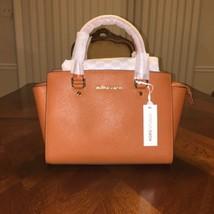 NWT Michael Kors Selma Saffiano Leather Medium Satchel in Orange - $177.29