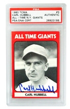 Carl Hubbell Signed Giants 1980 TCMA Baseball Trading Card #3 - (PSA Enc... - $70.00