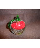 Vintage large apple shaped glass paper weight with green stem and leaves - $39.50