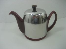 Vintage Porcelain Maroon Kettle Tea Pot With Insulated Cozy Aluminum Met... - $15.85