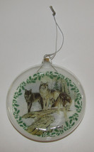 """Wolves Christmas Ornament New Hollow Glass 4"""" Diameter Wolf Pack Snow - $9.89"""