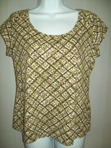 Liz Claiborne Womens Top Size M Green Biege Dot Pleated Shoulders Short ... - $8.90