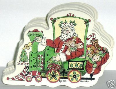VINTAGE CARDBOARD CARDS 1985 SANTA TRAIN METZKE DESIGN
