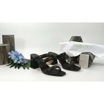 Jimmy Choo Auna 65MM Black Leather Chunky Heel Mules Slide Sandals 39.5 9.5 NIB - $346.01