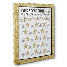 Gold Twinkle Twinkle Little Star Birthday Guestbook CANVAS Wall Art - $34.65