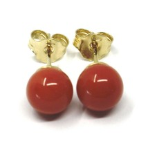 18K YELLOW GOLD BALLS SPHERES RED CORAL BUTTON EARRINGS, 7.5 MM, 0.3 INCHES image 1