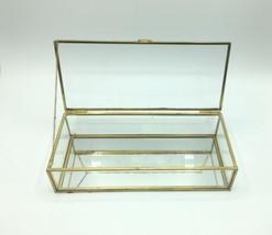 """Vintage Regency 10"""" Decorative Brass Tone Glass Box Vanity Jewelry Trinket image 2"""
