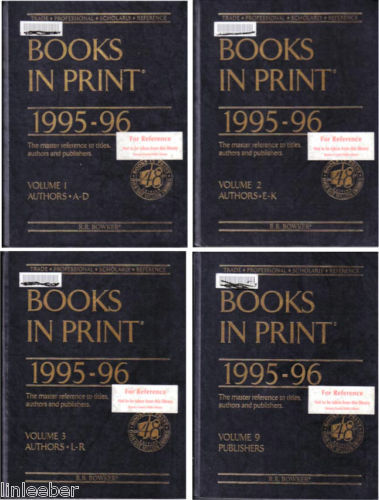 4 VOLUME SET-Books in Print,1995-96-AUTHORS+PUBLISHERS