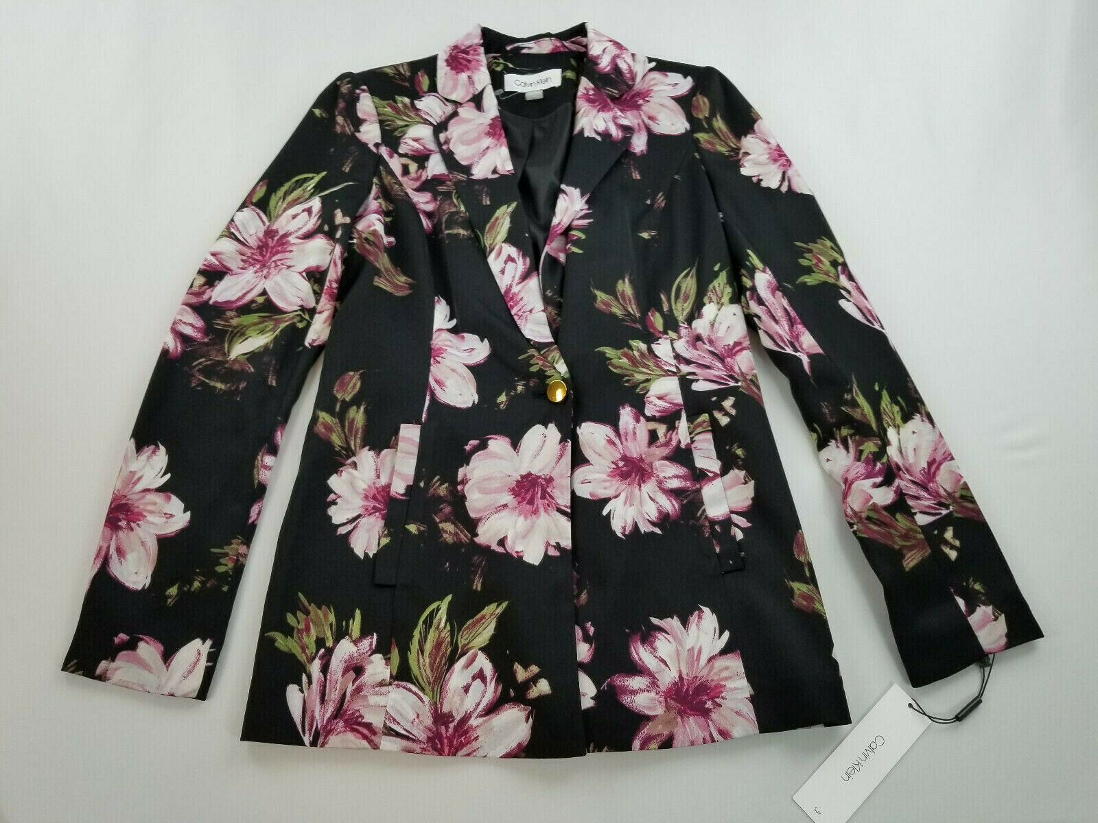 Primary image for new CALVIN KLEIN women dress jacket S87JV40F black purple flowers 4 MSRP $139