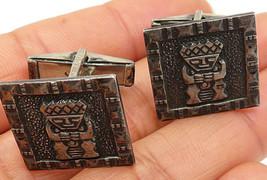 925 Sterling Silver - Vintage Dark Toned Tribal Designed Cuff Links - T1288 - $56.68