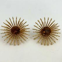 Sarah Coventry Golden Mum Rhinestone Clip On Earrings Vintage Large Big ... - $19.74