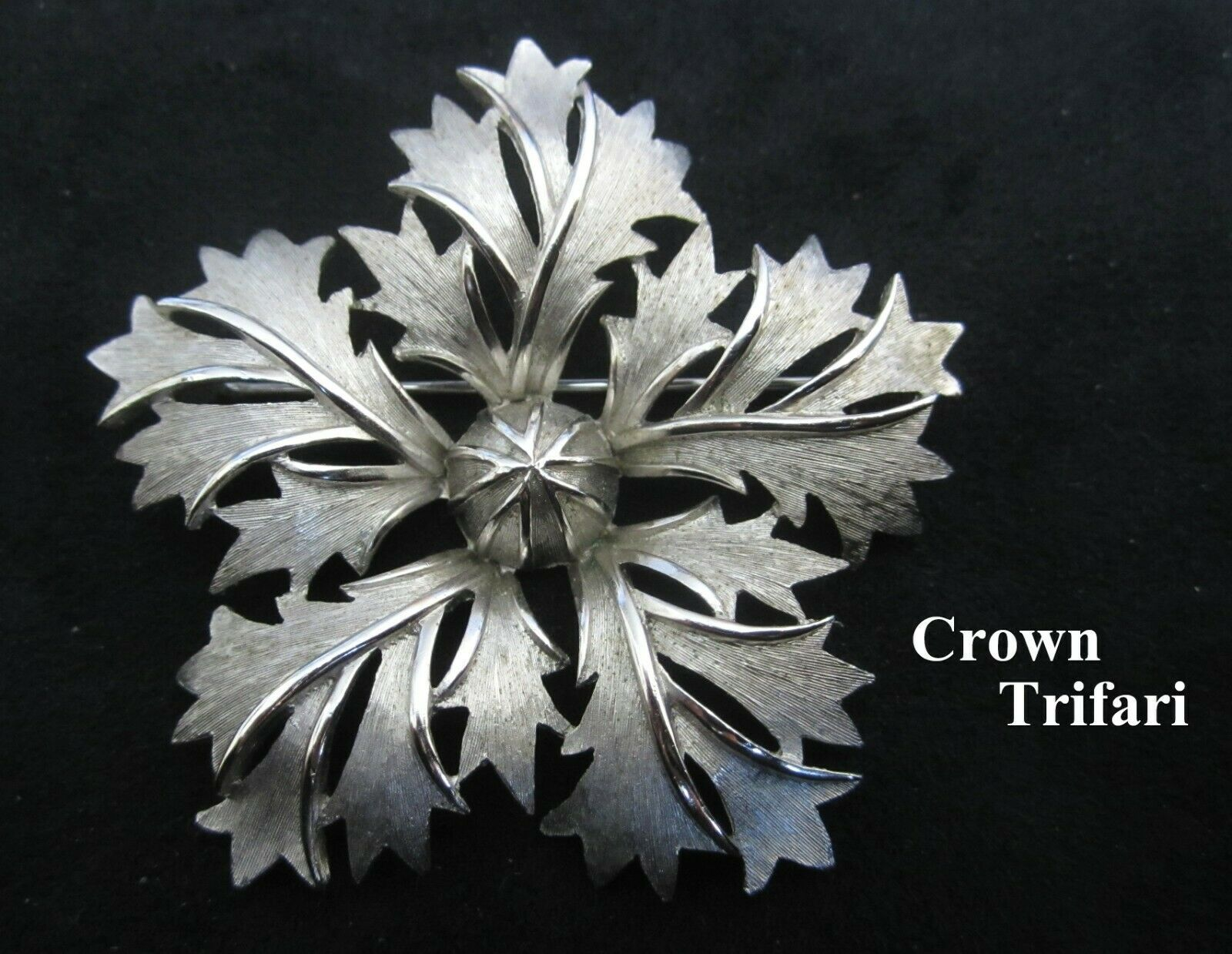 Primary image for Vintage Crown Trifari Brushed Silver Tone Chrysanthemum Floral Brooch Pin