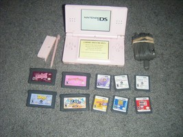 Nintendo DS Lite CORAL PINK Handheld System Console and  Lot 10 Games - $59.83