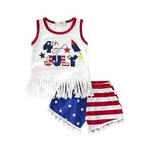 Infant Toddler Baby Girl 4th of July Outfits Cotton Sleeveless Vest Tops... - $16.35