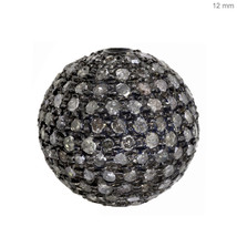 Vintage 925 Sterling Silver 1.72Ct Pave Diamond Specer Bead Ball Finding... - $266.48