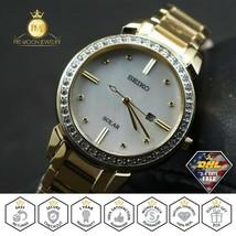 SEIKO SUT330 Ladies Watch Solar Quartz Swarovski Crystal Mother of Pearl Dial  - $188.08