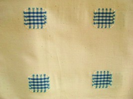 Vintage Cream with Blue Squares Cotton Fabric 3 yards - $17.95
