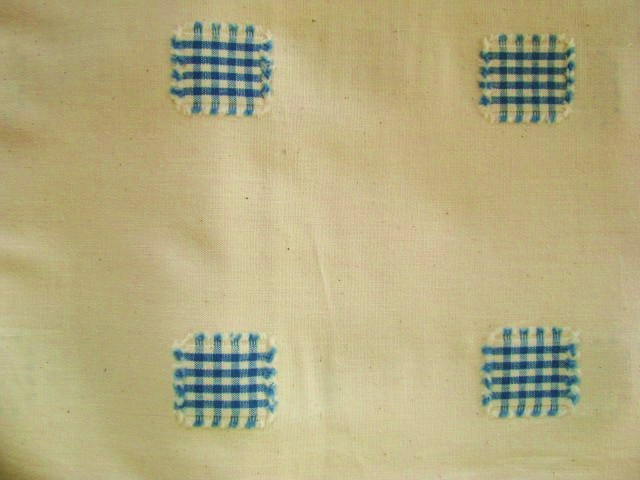 Vintage Cream with Blue Squares Cotton Fabric 3 yards
