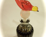 Vintage Pressed Glass Perfume Bottle with Bird Stopper Hand Painted Details 8""