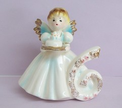 Vintage Josef Originals Birthday 6 Angel Figurine Black Eyes Cake FREE SHIPPING - $24.99