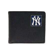 NEW YORK YANKEES REAL BLACK LEATHER EMBROIDERED OR PEWTER LOGO BILLFOLD ... - €21,29 EUR