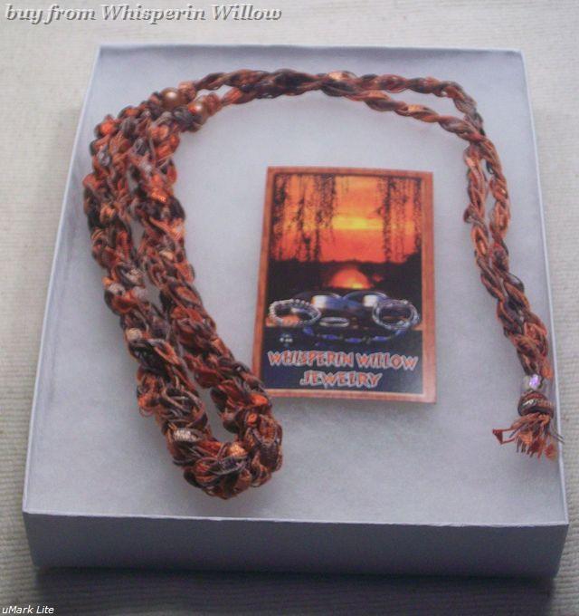 Crocheted Trellis Ladder Ribbon Necklace 17