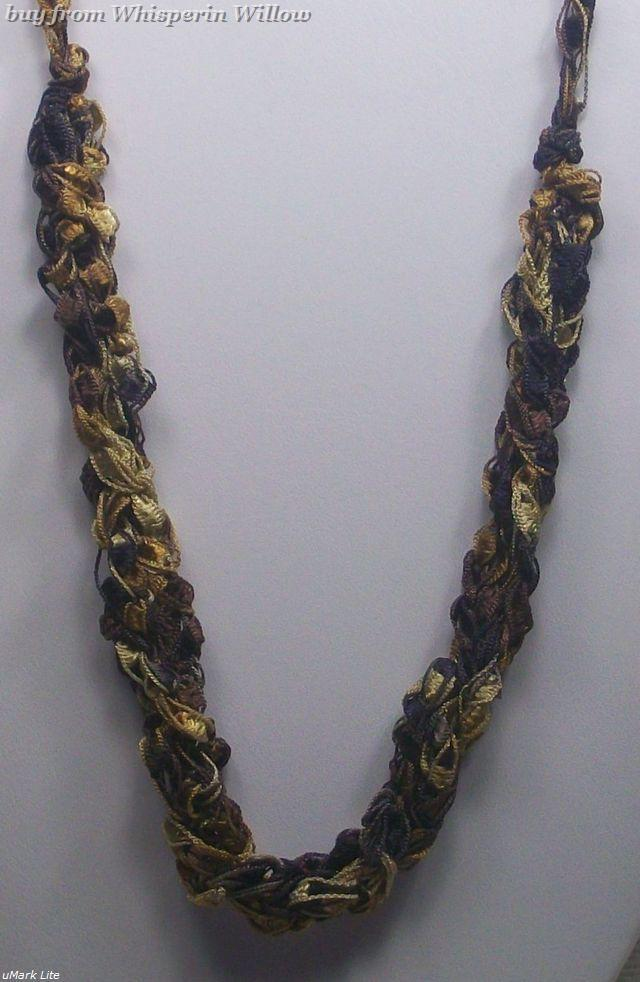 Crocheted Trellis Ladder Ribbon Necklace 18