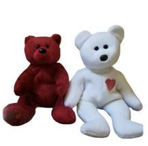 2 Ty Beanie Babies Bears Plush Stuffed Animal Valentino Happy Birthday '... - $11.87