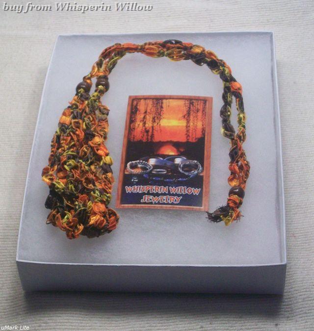 Crocheted Trellis Ladder Ribbon Necklace 19