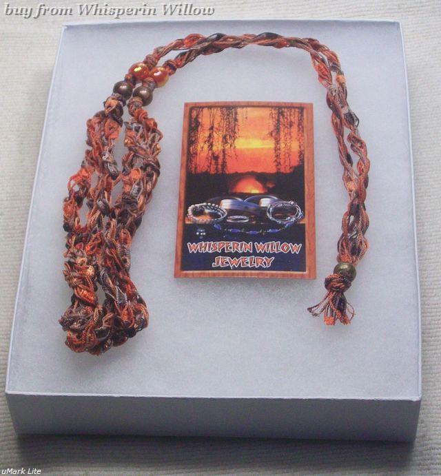 Crocheted Trellis Ladder Ribbon Necklace 20