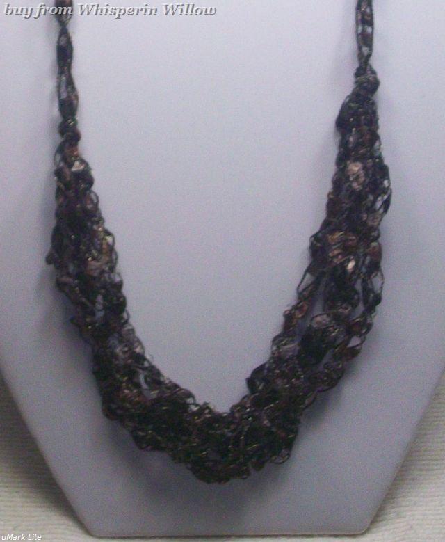 Crocheted Trellis Ladder Ribbon Necklace 21