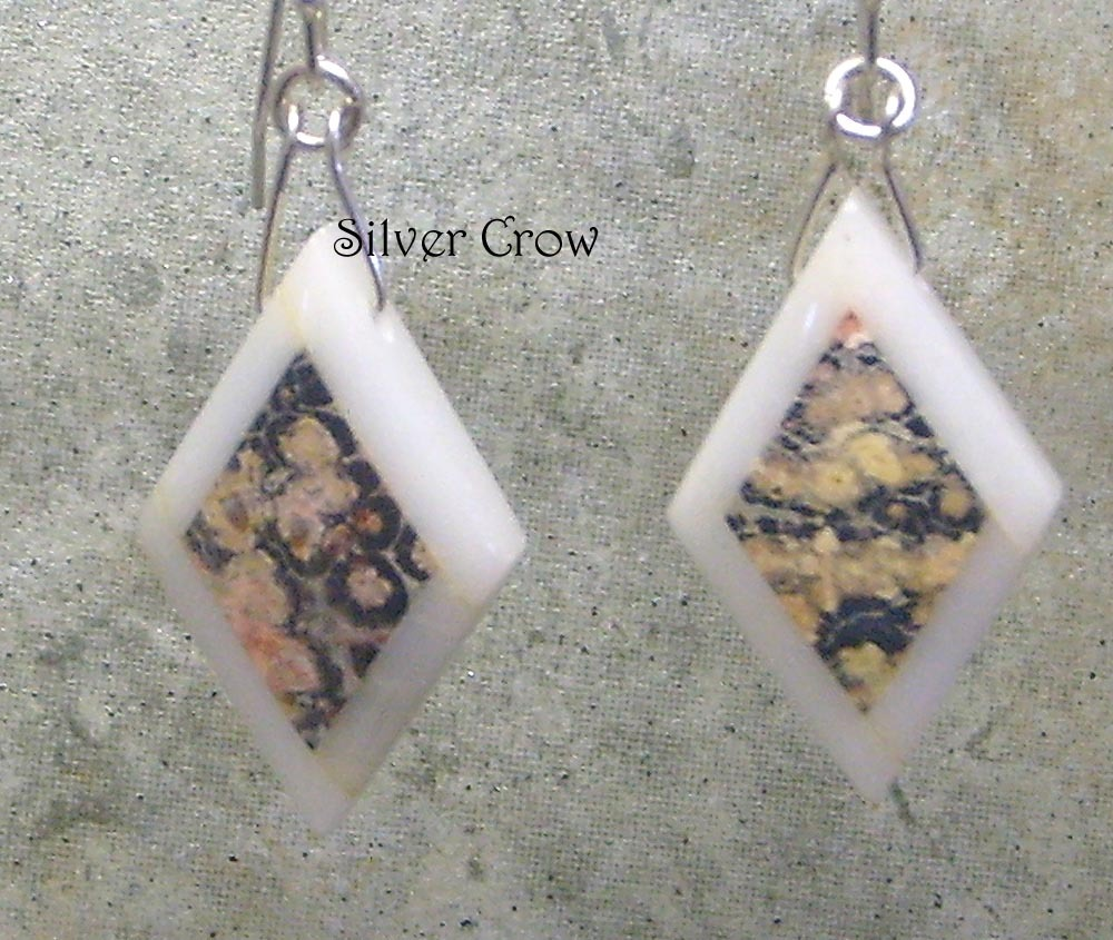 Leopardskin Intarsia & Argentium Sterling Silver Earrings
