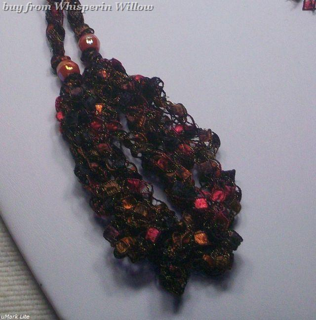 Crocheted Trellis Ladder Ribbon Necklace 22