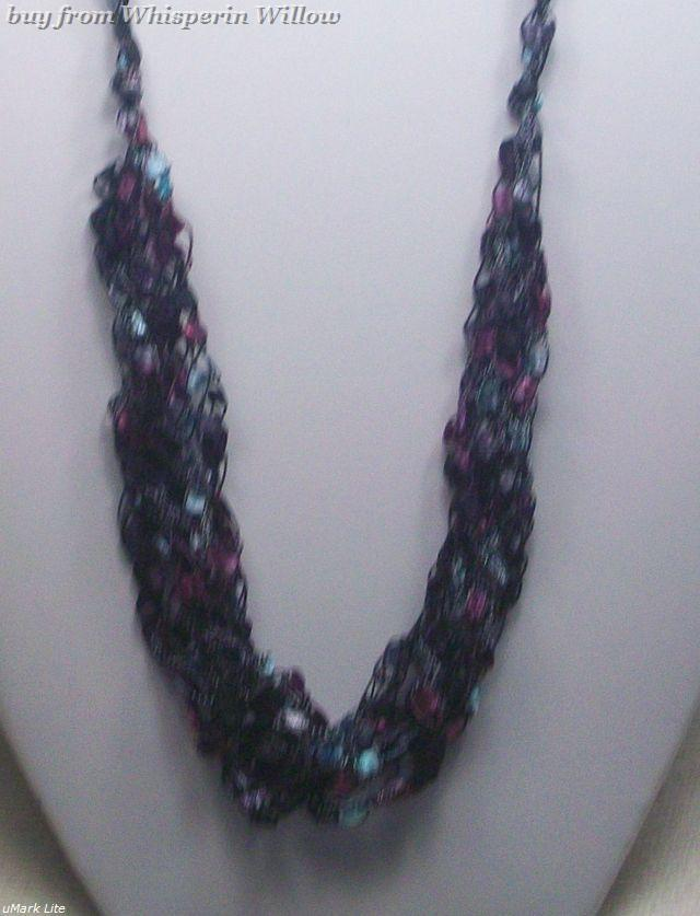 Crocheted Trellis Ladder Ribbon Necklace 24