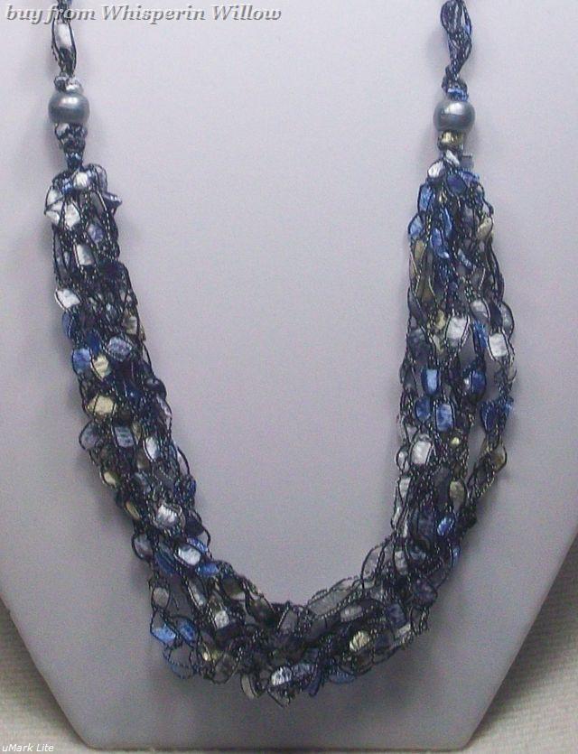 Crocheted Trellis Ladder Ribbon Necklace 25