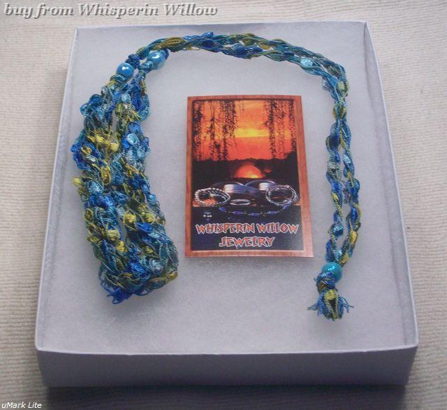 Crocheted Trellis Ladder Ribbon Necklace 26