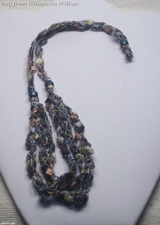 Crocheted Trellis Ladder Ribbon Necklace 27