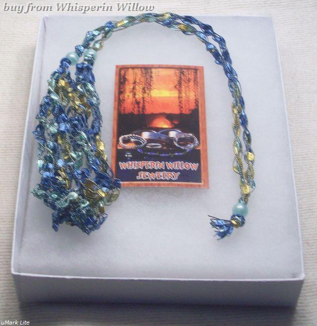 Crocheted Trellis Ladder Ribbon Necklace 28
