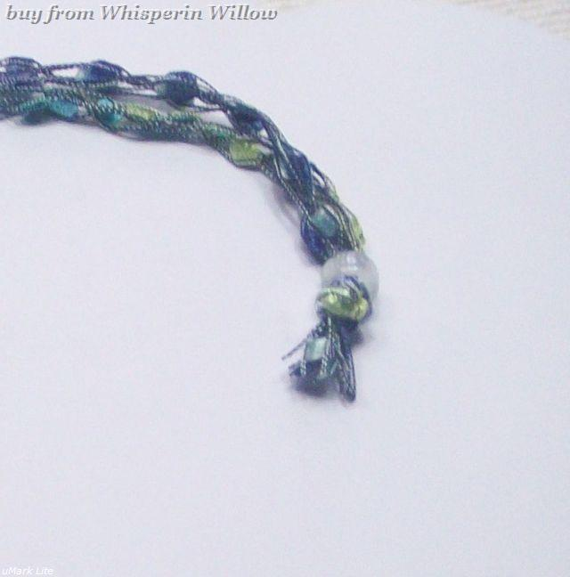 Crocheted Trellis Ladder Ribbon Necklace 29