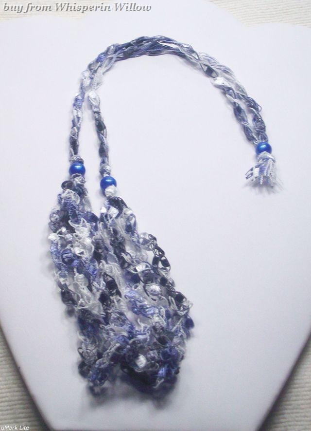 Crocheted Trellis Ladder Ribbon Necklace 30