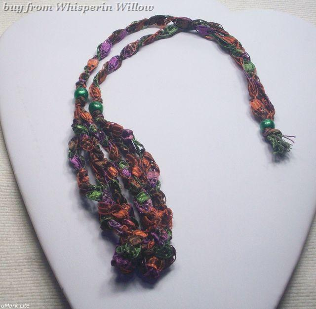 Crocheted Trellis Ladder Ribbon Necklace 31