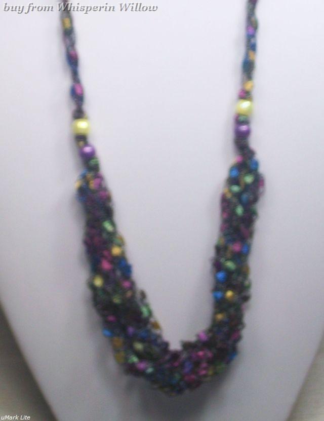 Crocheted Trellis Ladder Ribbon Necklace 32